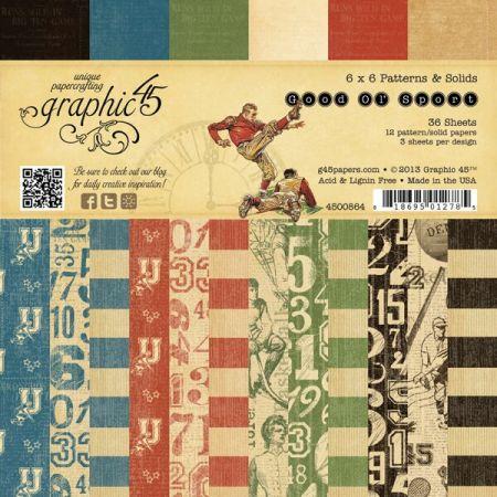 Graphic45 USA - Дизайн блок Good Ol Sport 6x6 Patterns & Solids Pad