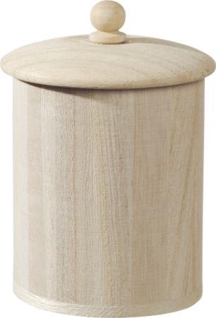 WOODEN BOX with LID - Дървен съд с капак Ø 6.5 x 8,5 cm