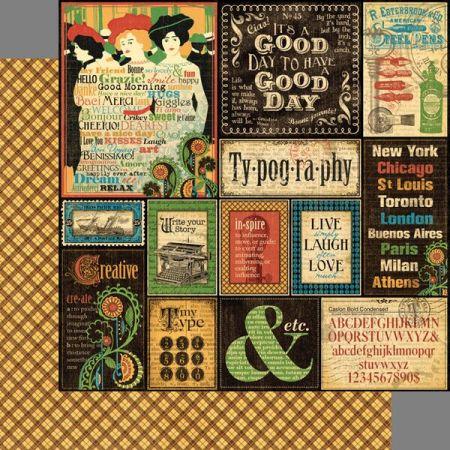 GRAPHIC45  Typography paper  - Дизайнерски скрапбукинг картон 30,5 х 30,5 см.