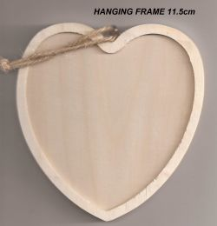 WOOD HANGING FRAME HEART - Дървена висяща рамка 11,5 х 11,5 cm