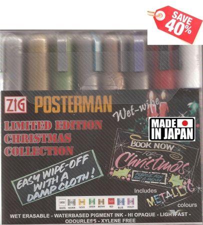 ZIG POSTERMAN WET-WIPE Japan - Комплект маркери за временно декориране 8бр