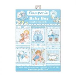 STAMPERIA cards 24 Pack  - Дизайнерски блок картички BABY BOY