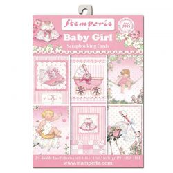 STAMPERIA cards 24 Pack  - Дизайнерски блок картички BABY GIRL