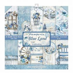 "STAMPERIA Double Face Sheets 10 Pack ""BLUE LAND""  - Дизайнерски блок 12""x12"""