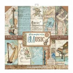 "STAMPERIA Double Face Sheets 10 Pack ""MUSIC""  - Дизайнерски блок 12""x12"""