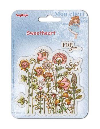SCRAPBERRYS - Дизайнерски печати 10 X 10 см SWEETHEART FLOWERS