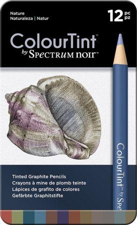SPECTRUM COLOUR TINT Pencils SET - Метална кутия цветни графитни моливи 12цв  -  NATURE