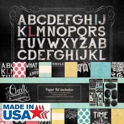 MME USA # CHALK STUDIO 2  KIT - Скарпбукинг блок + АКСЕСОАРИ 30.5 X 30.5