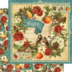 GRAPHIC45 USA # WINTER - Дизайнерски скрапбукинг картон 30,5 х 30,5 см.