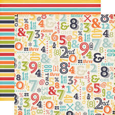 ECHO PARK USA #  NUMBERS - Дизайнерски двустранен скрапбукинг картон 30,5 х 30,5 см.