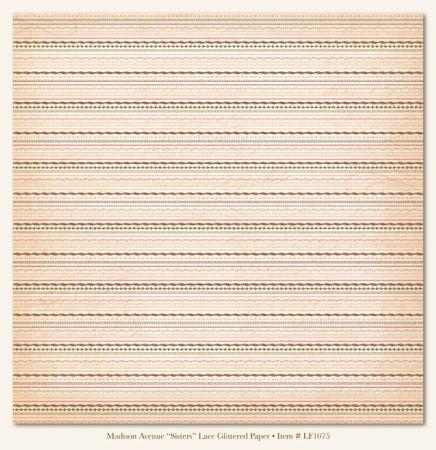 MME SISTERS LACE GLITTER card ,USA 12 X 12  - Дизайнерски скрапбукинг картон с брокат 30,5 х 30,5 см.