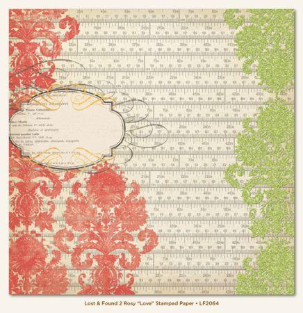 MME ROSY LOVE GLITTER card ,USA 12 X 12  - Дизайнерски скрапбукинг картон с брокат 30,5 х 30,5 см.