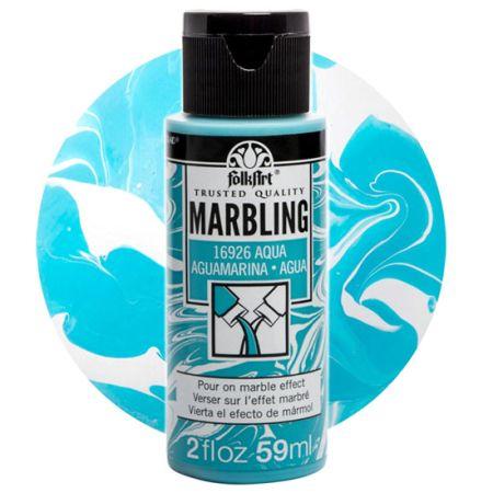 FOLK ART  NEW MARBLING PAINT - Боя за мраморен ефект 59мл AQUA / АКВА