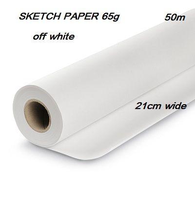 SKETCH PAPER 65g /50m . - Ролка двойна хартия за писане /скициране мр.бял цвят 21см / 50м