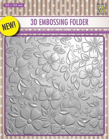 """3D-embossing folder """"flowers-3"""" 152x152mm - 3D Ембос папка"""