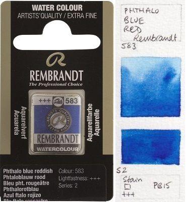 REMBRANDT WATERCOLOUR PAN - Екстра фин акварел `кубче` PHTALO BLUE REDDISH 583