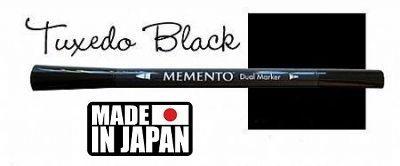 MEMENTO BRUSH MARKER , Japan - Двувърх маркер ЧЕТКА - TUXEDO BLACK