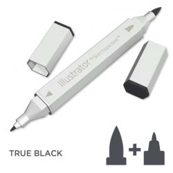 SPECTRUM ILLUSTRATOR BRUSH - Двувърх дизайн маркер ЧЕТКА - TRUE BLACK