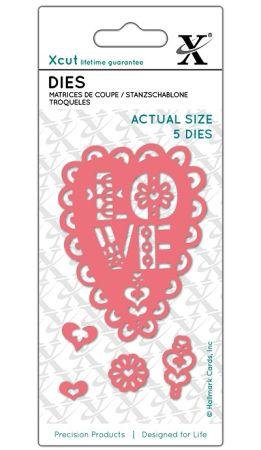XCUT  DIES, LOVE HEART - Комплект щанцa за рязане и релеф