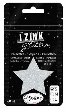 IZINK GLITTER S - Диамантен брокат за декорация 60ml SILVER
