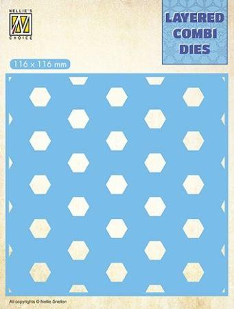 LAYERED COMBI DIES  - Фигурална щанца за рязане и релеф HONEYCOMB  #LCDH003