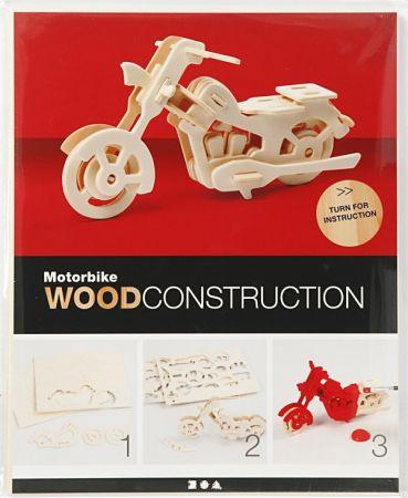 3D Wood Construction Kit MOTORBIKE - Дървен конструктор 19 x 9 x9 cm