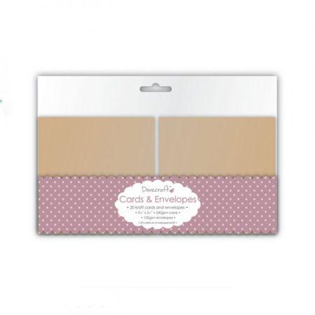 "DOVECRAFT Kraft 3.5""x3.5"" MINI Cards & Envelopes 20 -  Основи за картички с плик - крафт DCCE029"