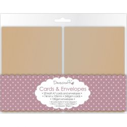 DOVECRAFT Kraft A7 MINI Cards & Envelopes 20 -  Основи за картички с плик - крафт DCCE030