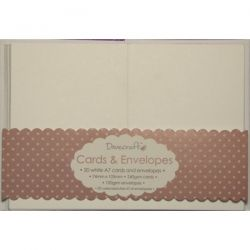 DOVECRAFT WHITE A7 MINI Cards & Envelopes 20  -  Основи за картички с плик - крафт DCCE030