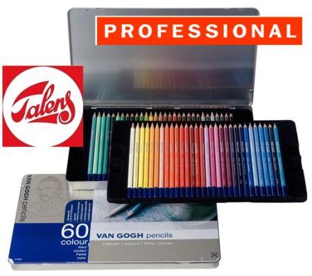 VAN GOGH Professional COLOUR PENCILS 60 -  Цветни моливи за дизайн и рисуване 60цв / метална кутия