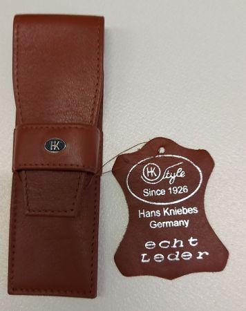 HK pen wallet 2 Germany - Кожен несесер за 2 пишещи средства COGNAC