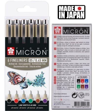 PIGMA MICRON 05 BASIC SET Japan - Профи комплект тънкописци 6цв