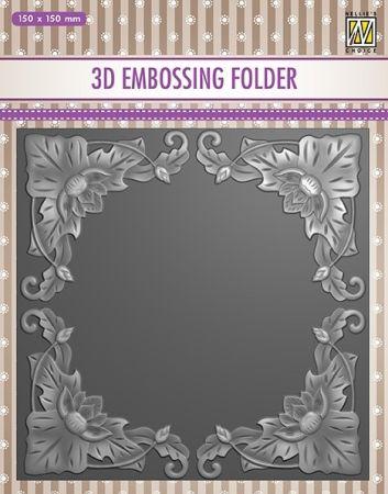 """3D-embossing folder """"FLOWER FRAME"""" 150x150mm- 3D Ембос папка"""