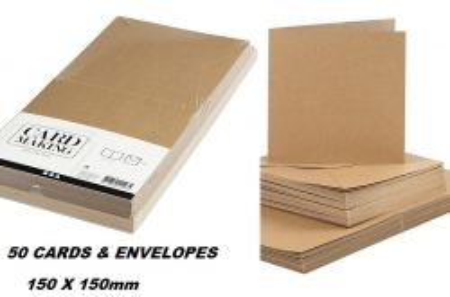 CREATIVE cards & envelopes 150 x 150mm - 50 двойни картички + 50 плика КРАФТ