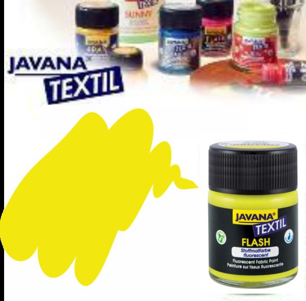 JAVANA FLASH - Флуорисцентна боя за текстил / светла основа 50мл. - ЖЪЛТА