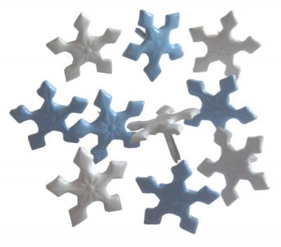 BRADS CRAFTERS Design  -Snowflakes Pastel Blue/White 10pcs- Дизайн кабъри 10 бр.