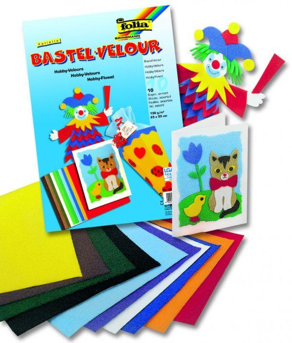 FOLIA BASTELVELOUR  - Велурена хартия ПАКЕТ 10 цв. 16,5 X 23 см
