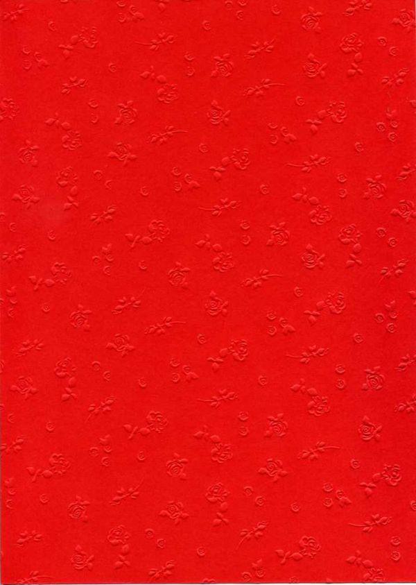 "FB EMBOSS CARD - Преге картон 230гр ""РОЗИ"" 50х70см - Червено"
