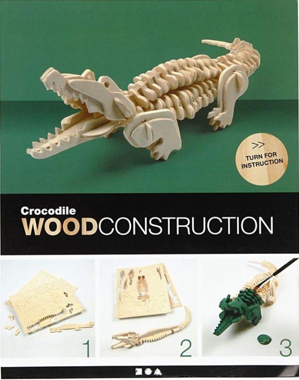 3D Wood Construction Kit CROCO - Дървен конструктор  33x10x10