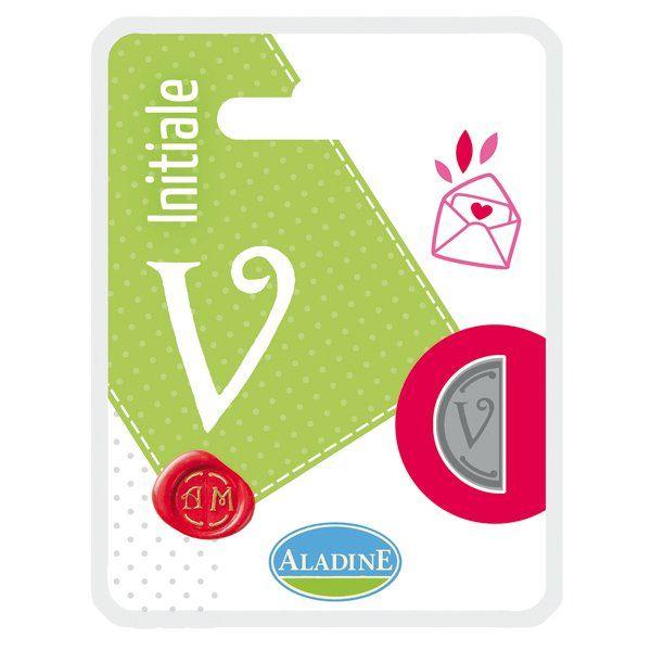 ALADINE,France -  метален печат ПОЛОВИНКА ДВУСТРАНЕН ИНИЦИАЛ  за восък  V