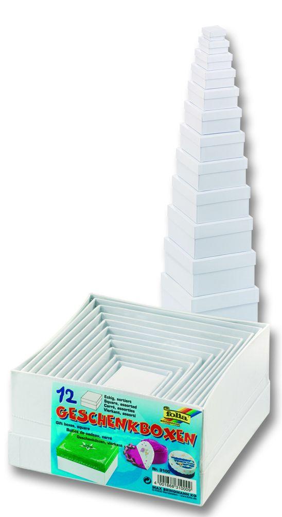 CARDBOX SQUARE SET - Комплект 12 кутии за декупаж Folia,Germany