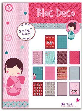 BLOC DECO # KOKESHI -  Скрапбукинг блок 28sheet, 15X20