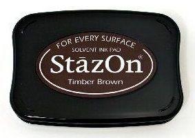 StazOn, Solvet ink pad - Тампон с мастило за твърди и неабсорбиращи повърхности - Timber brown