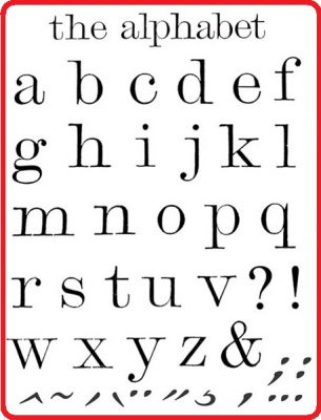ALPHABET by Stamperia - Дизайнерски прозрачни печати 14 х 18 см.
