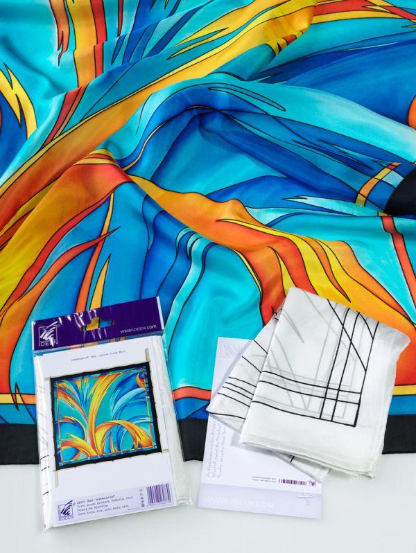 GUTTA SILK - Поръбен и гутиран с мотив шал от естествена коприна 90 Х 90 см.