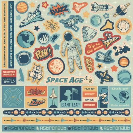 BEST CREATIONS SPACE AGE glitter STICKERS  - Деко  БРОКАТЕНИ Стикери  30 х 30 см.