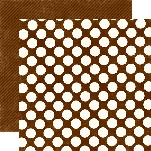CHOCOLATE LARGE DOT - Дизайнерски скрапбукинг картон 30,5 х 30,5 см.