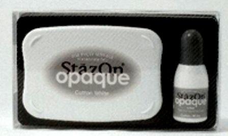 StazOn OPAQUE - тампон + мастило за всякаква твърда или гланцирана повърхност - плътно бяло