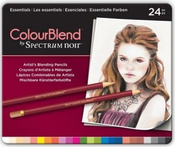 # Spectrum Noir Blendable Pencils SET - Метална кутия цветни дизайн моливи 24цв  -  ESSENTIALS