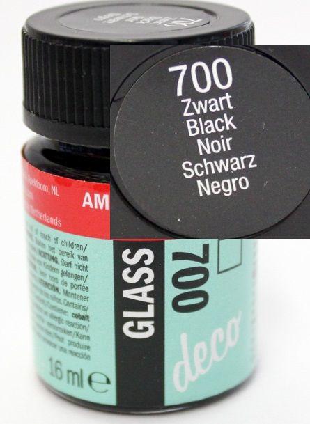 Decorfin Glass, TALENS - Витражна боя от най-високо качество, 16 мл. - Плътно Черно
